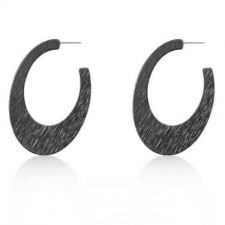 Buy Contemporary Hematite Textured Hoop Earrings