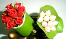 Buy 2 PCS DOLLHOUSE HANDMADE MINIATURES ROSE AND LOTUS FLOWERS PLANTs WRAP WITH LEAV