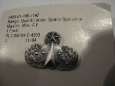 Buy 1984 Mini Space Operations Air Force Badge On Card