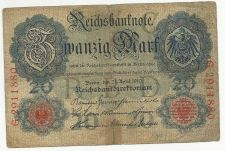 Buy Germany Imperial Reichsbanknote 20 Mark 1910 Banknote No. 2911880