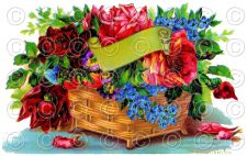 Buy Vintage Victorian Flower Basket (Style 1) Greetings Postcard Digital Image