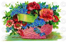 Buy Vintage Victorian Flower Basket (Style 2) Greetings Postcard Digital Image