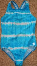Buy Lands End Blue Tie-Dye Swimsuit with Gold Specks Sz 14 Girls Like New!