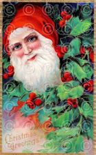 Buy Vintage Victorian Red Velvet German Santa Greetings Postcard Digital Image