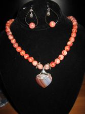 Buy Red Jasper Necklace with Heart Pendant and Matching Earrings
