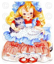 Buy Little Girl with the Curl Nursery Rhyme Doll Card Vintage Digital Image