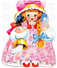 Buy Little Miss Muffet Nursery Rhyme Doll Card Vintage Digital Image