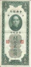 Buy Central Bank of China 1930 20 Customs Gold Units Banknote XF111848 - Rare!