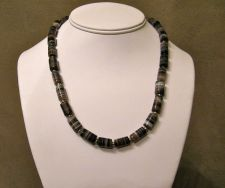 Buy Black and White Striped Agate Necklace