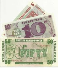 Buy 1972 British Armed Forces 5, 10, & 50 New Pence Banknotes