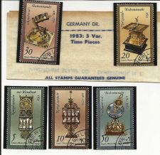 Buy 1983 German Dem Repub Set of 5 Stamps - Time Pieces