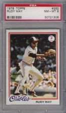 Buy 1978 Topps #262 Rudy May Baltimore Orioles PSA NM-MT 8