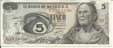 Buy 1971 MEXICAN $5 PESOS PAPER MONEY
