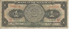 Buy 1957 Mexican 1 Peso Note with Aztec calendar