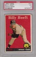 Buy 1958 Topps #13 Billy Hoeft Detroit Tigers PSA VG 3 White Name ORANGE triangle