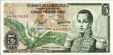 Buy Columbia 5 Pesos Oro 1979 Banknote P-406 Cordoba at Right Condor at left