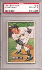 Buy 1951 Bowman # 203 Vernon Law Rookie Card PSA 6
