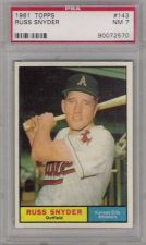 Buy 1961 Topps #143 Russ Snyder Kansas City Athletics PSA NM 7 A's