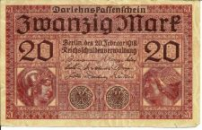 Buy Germany 20 Mark banknote 1918 WWI BANKNOTE