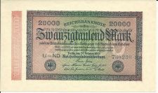 Buy GERMAN REICHSBANK 20000 Marks (20 Februaery1923) - WW1 GERMAN PAPER MONEY