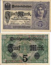 Buy GERMANY 5 Mark 1917 Banknote Z15882699 -State Loan Currency Note- DARLENSKAFFEHSCHEIN
