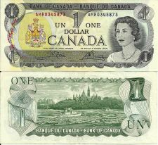 Buy Canadian One Dollar Banknote 1973 Canada $1 Bill AU Banknote No. AMR0345873