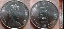 Buy 1980 Hong Kong 5 Dollar Coin Elizabeth II with engraved rim - beautiful coin!