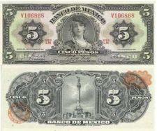 Buy 1961 Mexican 5 Pesos Banknote V106868 UNC - Attractive Note!