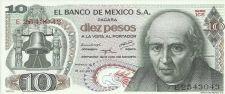 Buy 1973 Mexican 10 Peso Note UNC