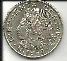 Buy World Coins - Mexico Mexican 50 Centavos Cuauhtemoc Coin 1969