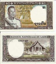 Buy 1963 LAOS 20 KIP NOTE MINT CRISP UNC VIETNAM WAR ERA