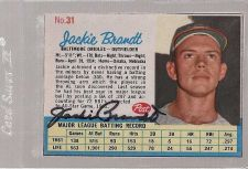 Buy 1962 Post Jackie Brandt autogrphed card