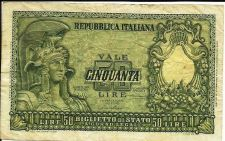 Buy 1951 Italy 50 Lire #91 Banknote 030476 - Helmeted FAVALOSO!