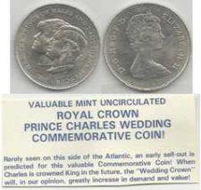 Buy CHARLES & DIANA Crown Coin 1981 Royal Wedding - Princess Prince Britain British