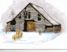 Buy Gray Barn in Light Snow Greeting Card