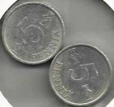 Buy FINLAND LOT OF TWO 5 PENNIA 1978 & 1984