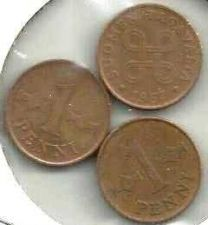 Buy FINLAND LOT OF THREE 1 PENNIA 1964, 1966, & 1967 COINS
