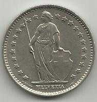 Buy Switzerland 1 Franc 1968 - Standing Helvetia with lance and shield