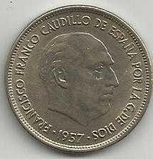 Buy Spain 25 PESETA 1957