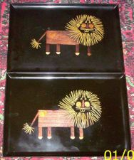 Buy Eames Era Mid Century Modern-- Pair of Couroc Lion Trays