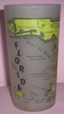 Buy 1960's Retro Hazel Atlas-- Frosted Souvenir Glass- Florida