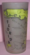 Buy 1960's Retro Hazel Atlas-- Frosted Souvenir Glass- Florida