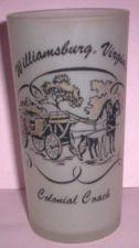Buy 1960's Retro Hazel Atlas-- Frosted Souvenir Glass- Williamsburg Virginia Coach