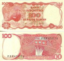 Buy Indonesia 100 Rupees 1984 Victory Bird at left. Dam & water project on back