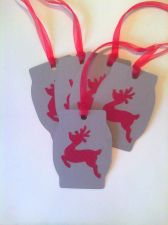 Buy Red Reindeer Die Cut Holiday Gift Tag