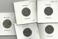 Buy 5 US 1943 Steel Wheat Pennies Set 1