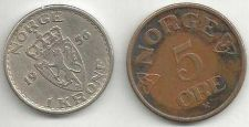 Buy 1956 Norway 1 Krone Coin Haakon VII plus BONUS coin!