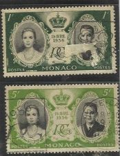 Buy 1956 Stamps MONACO French Riviera France Lot of 2 - Royal Wedding
