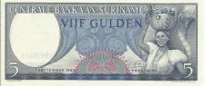 Buy SURINAME 5 Gulden Banknote World Money Currency South American BILL 1963 Note