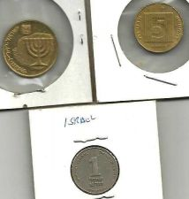 Buy ISRAEL Israeli type coin set page with 1, 5, & 10 Agorot coins (Ancient Menorah)
